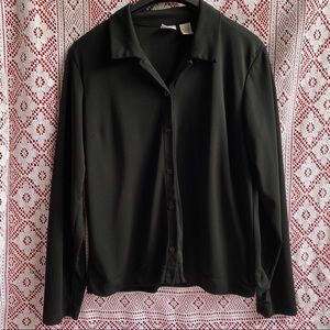 Cherokee Black Stretchy Button Up Cardigan Large